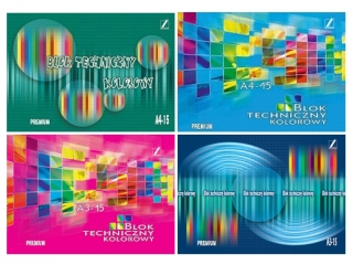 Blok Premium techniczny kolorowy A5-15 [opakowanie=10szt]