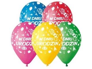 """Balony Premium """"W Dniu Urodzin"""", 12"""" / 5 szt."""