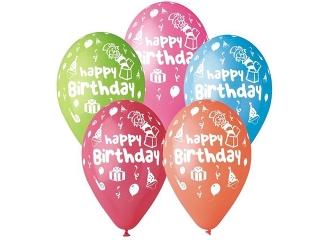 """Balony Premium """"Happy Birthday (party), 12"""" / 5 szt."""