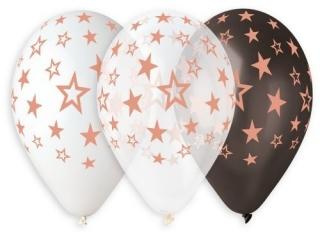 Balony Premium Hel GWIAZDY RÓ¯OWO-Z£OTE, 13 cali/ 6 szt.