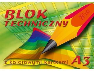 Blok techniczny z kolorowymi kartkami A3-10[opakowanie=10szt