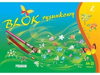 Blok rysunkowy Premium A4-20/ 100g/m2 [opakowanie=10szt]