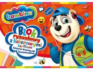 Blok rysunkowy z kolorowymi kartkami A4, 16k BAMBINO [opakow