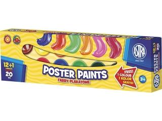 Farby plakatowe Astra 13 kolorów - 20 ml 12+1 kolor gratis [opakowanie=4szt]