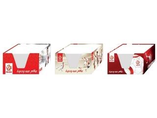 Kostka papierowa bia³a 90x90x50mm w kubiku kartonowym PZPN m