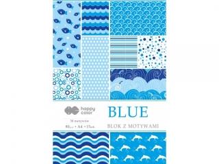 Blok z motywami BLUE, 80g/m2, A4, 15 ark, 30 motyw, Happy Co
