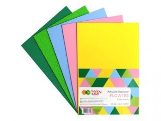 Arkusze piankowe FLOWER, A4, 5 ark, 5 kolorów, 2 rodzaje, Happy Color