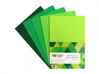 Arkusze piankowe MIX GREEN, A4, 5 ark, 5 kolorów, 2 rodzaje, Happy Color