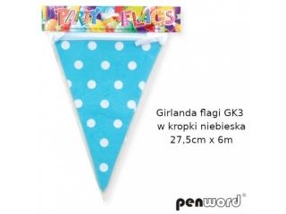 GIRLANDA FLAGI GK3 W KROPKI NIEBIESKA 27, 5cmx6m