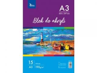 BLOK DO AKRYLI A3, 190 g/m2, 15 ARK. PR2019